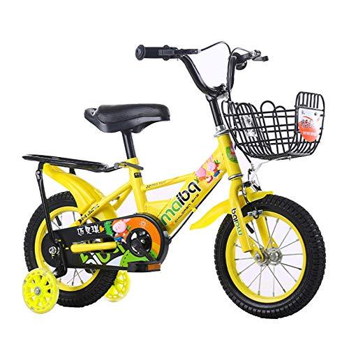 MQJ Bici per Bambini per Bambini da 3-8 Anni Biciclette con Ruote Di Allenamento, in Età Prescolare Bike Boys Girls Freestyle Bmx Bicycle Regali per Bambini Biciclette,16 In,Giallo