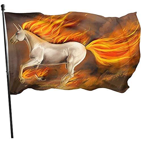 wallxxj Yard-Flagge Brennende Einhorn-Yard-Fahne Im Freien Garten Kennzeichnet Standard Klares Willkommenes Buntes Drucken 150X90Cm Yard-Flaggen-Feiertag