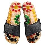Zapatillas de masaje de pies de 5 tamaños para activar la sangre y relajar los pies, zapatos de masaje de piedra de guijarro para el cuidado de los pies (37-Negro)