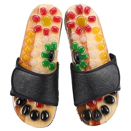 Massage-Hausschuhe, 5 Größen Magnet Therapie Massage Schuhe Massage Hausschuhe Gesundheitspflege Blut Aktivierung Fuß Entspannung Massage Schuhe(37-43)(41-Schwarz)