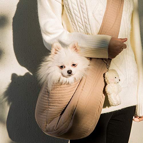 Semaxy 犬スリング 抱っこ紐 ペットバッグ ショルダーバッグ 斜めがけ 折りたたみ スリングバッグ うさぎ 猫 小型犬 動物 通院 避難 旅行 お散歩 犬キャリーケース 飛び出し防止 旅行 通院 散? お出かけバック(l:6.5kg以内に最適,ブラウ