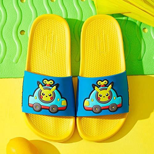 COQUI Slippers Mujer Cerradas,Nuevas Zapatillas de Primavera y Verano para niños, Dibujos Animados de Moda, Lindo Pikachu, Zapatillas cómodas para Interiores y Exteriores-Amarillo_190