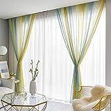 ZMQBY Cortinas translucida,biombos translúcidos,Color Degradado 2 Piezas para salón y Dormitorio-C_200 x 270 cm con Ojales