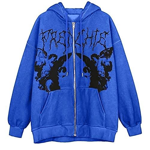 Yokbeer Bluza ze Sznurkiem Dla Kobiet Sweter Rozpinany z Długim Rękawem Y2k E-Girl Bluzy z Kapturem I Kieszeniami (Color : Blue, Size : 3XL)
