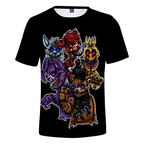 CBSTD Camiseta de 3 a 14 años FNAF 3D Camiseta de niño FNAF Camisetas Cinco Noches en Freddy Streetwear Camiseta Anime Tops Niño de dibujos animados, 3D-101, 160 cm