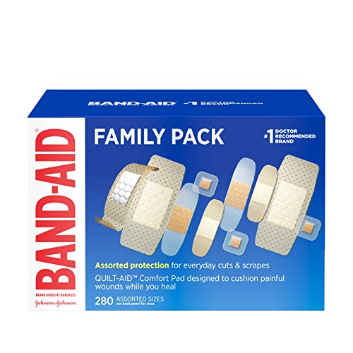 Band-Aid Marque bandage family variety pack, sheer et clair bandages, tailles assorties, 280 ct