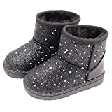Tounsol Girl's Warm Winter Sequin Waterpoof Outdoor Snow Boots black9 Toddler