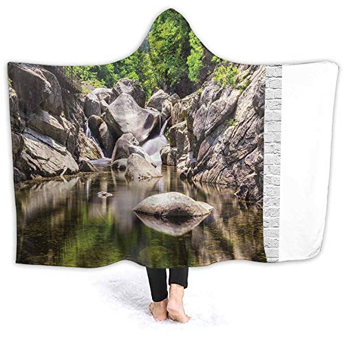 ThinkingPower Poncho Blanket Rain Waterfall Scenery Rocks The River Nature Print Grey Green Windproof Hoodie Blanket Great for Football Games 60 x 50 Inch