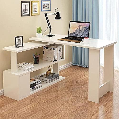 Escritorio de computadora giratorio de 360° moderno en forma de L con almacenamiento reversible escritorio de oficina, escritorio de estudio con archivador para casa, oficina, estudio, escritura C-B