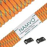 Namvo 550 Paracord Mil Spec Tipo III Cable de paracaídas de 7 Cuerdas Longitud 100 pies / 30 Metros, Punto Amarillo Azul Naranja