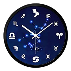 12 Constellation Wall Clock Silent Scanning Wall Clock Round Clock Living Room Bedroom Clock Quartz Clock (Color : Virgo, Size : 12 inches)