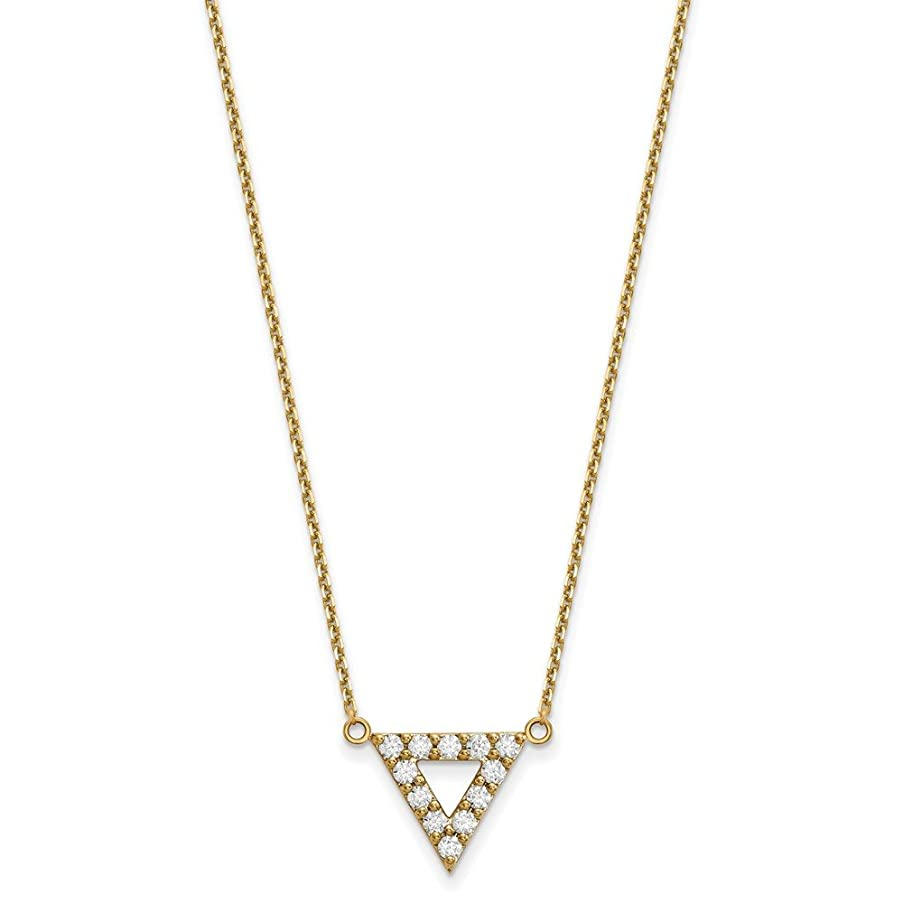14k Yellow Gold Diamond 3mm Triangle Chain Necklace Pendant Charm Contemporary Geometric Shape Fine Jewelry Gifts For Women For Her
