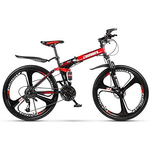 """Vélo de montagne pliant de 24 """", frein à disque double à 21 vitesses, kit de changement de vitesse de suspension, cadre en acier au carbone - pour les courses en ville tout-terrain, hommes et femmes"""