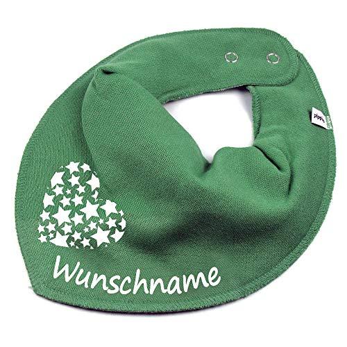 Elefantasie Elefantasie HALSTUCH Herz Sterne mit Namen oder Text personalisiert khaki für Baby oder Kind