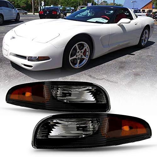 ACANII - For 1997-2004 Chevy Corvette C5 Black Housing Bumper Turn Signal Parking Lights Side Marker Lamps Left+Right