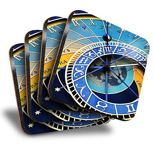 Destination Vinyl ltd Great Posavasos cuadrados (juego de 4) – Praga reloj astronómico bebida del casco antiguo posavasos/protección de mesa para cualquier tipo de mesa #16250