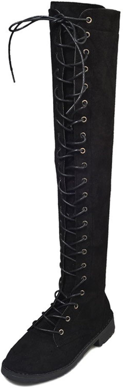 JESPER Women Cross-Tied Platform shoes Low Heel Extra Long shoeslaces Over-The-Knee Boots