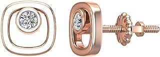 أقراط الماس على شكل وسادة أزرار تثبيت الحافة إعدادات الذهب 10 قيراط (0.10 قيراط)