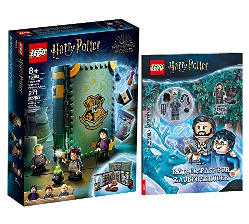Collectix Kit Lego Harry Potter - Hogwarts Moment : cours de magie (76383) + énigmes pour écolier de magie (couverture souple) - Cadeau à partir de 8 ans