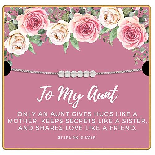 KEDRIAN Aunt Necklace, 925 Sterling Silver, Best Aunt Gifts, Mothers Day Gifts For Aunt, Gifts For Aunts, Best Aunt Ever Gift...
