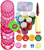 oramsa Ready to Draw Rangoli Making Kit 10pc Jali 8' + 1 Patta Pen + 3 Filler + 1 Rangoli Pen + 6 Stamp + 6 Bottle Color