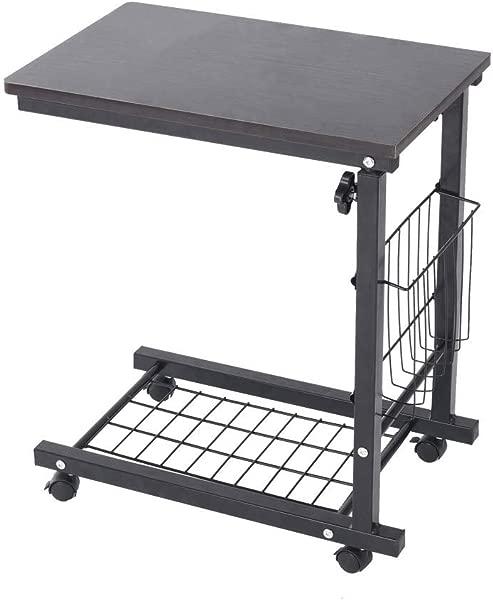 Chenway 高度可调沙发边桌轮移动电脑桌带收纳篮小空间卧室床边餐桌船直接从美国北欧松树颜色黑色