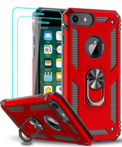 LeYi Compatible for iPhone 6s  6 Case, iPhone 7 Case, iPhone 8 Case, Military-Grade Dual Layer Protective Phone Cover Case with 360 Degree Rotating Holder Kickstand for Apple iPhone 6  6s  7 8, Red