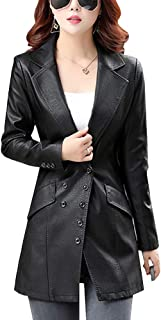 DISSA P7058 Women Faux Leather Long Overcoat Slim Coat Leather Jacket