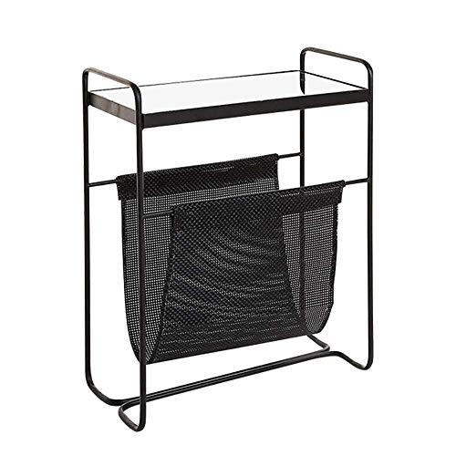 Carl Artbay Home&Selected Furniture/Rectangle Sofa Beistelltisch Ausgeglichenes Glas-Couchtisch Magazine Rack Zeitungsständer, Schwarz, 46 * 25 * 60CM