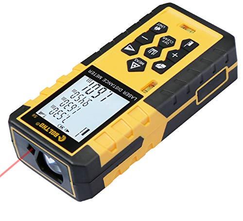 BOLTHO Lasermessgerät 100M Laser-Entfernungsmesser mit Blasenpegel - LCD mit Hintergrundbeleuchtung, Fläche und Volumen, Pythagoras-Modus Laserstufe Klasse II Lasertyp 630-650nm <1mw