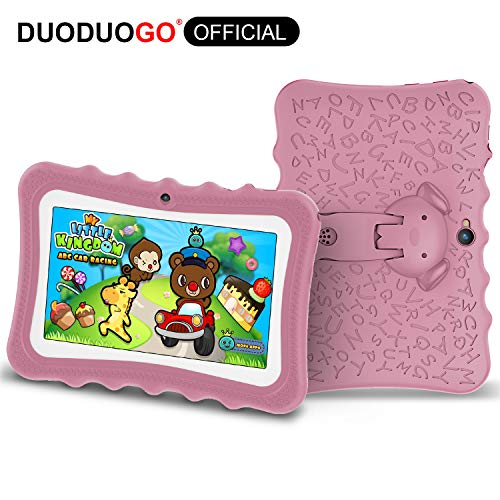 DUODUOGO G7 Tablet para Niños con WiFi Bluetooth 7 Pulgadas Tablet Infantil de Android 7.0 Quad Core 2GB RAM 32GB ROM/32GB Escalables Doble Cámara Tablet Niños Educativo (7'', Rosado)