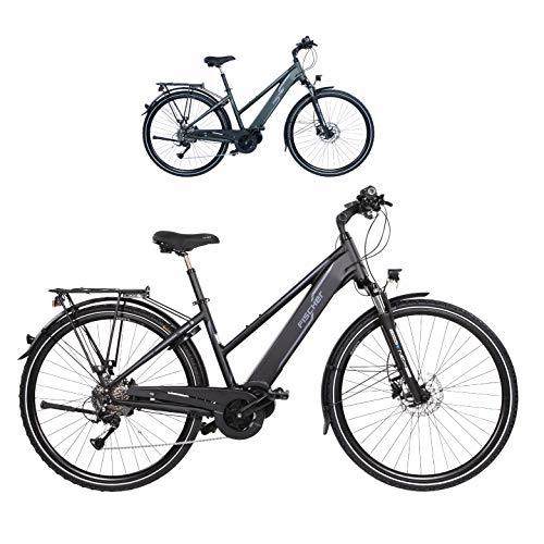 Fischer Damen – E-Bike Trekking VIATOR 4.0i, schwarz oder grün matt, 28 Zoll, RH 44 cm, Mittelmotor 50 Nm, 48 V Akku im Rahmen