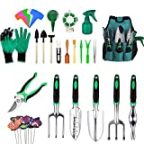 Mango Town Garden Tools Set 49PCS Aluminum Hand Tool Heavy Duty Gardening Tools Manual Garden Kit Storage Tote Bag Gloves Trowel Pruners Gifts for Men Women Indoor Outdoor Use