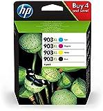 HP 903 XL Confezione da 4 Cartucce Originali, Capacità totale da 3.300 pagine, Compatibile con HP OfficeJet serie 6900, Nero/Blu (Ciano)/Giallo/Magenta