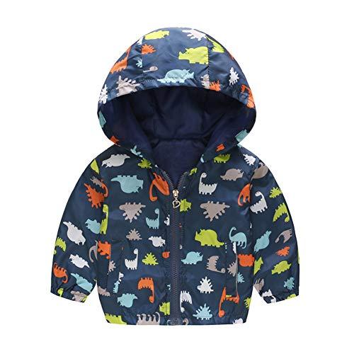 Ocamo - chamarra con capucha para bebé, diseño de dibujos animados, Dinosaurio azul, 120cm