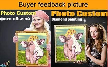 POENOEN DIY 5D Diamond Painting Kit para Adultos 30x30cm Animales Vaca Stitch Personalizado Cuadrado Taladro Completo Cristal Pintura Diamante para Ni/ños//Hogar//Decoraci/ón