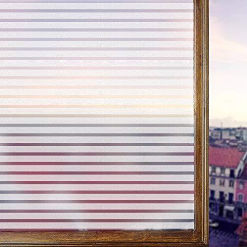 LC&TEAM 2 Rollen Streifen Fensterfolie selbsthaftend 90 * 200cm Milchglasfolie Statische Folie Sichtschutzfolie ohne Klebstoff Wiederverwendbar für Wohnzimmer, Büro