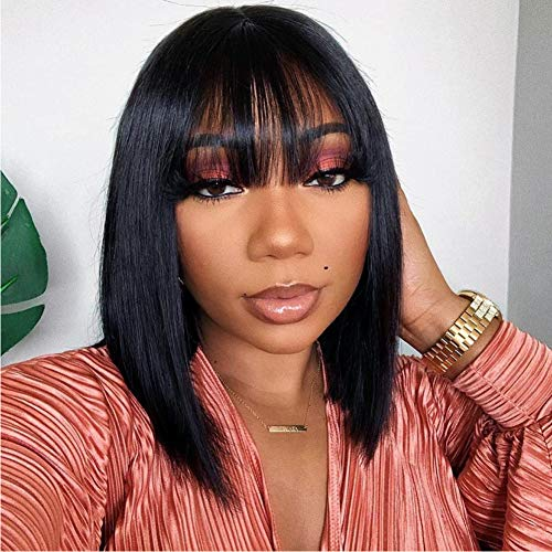 Short Bob Wig Human Hair Wigs with Bangs Brazilian Straight Hair Wigs None Lace Front Wigs Machine Made Bob Wig for Black Women Natural color(12 Inch)