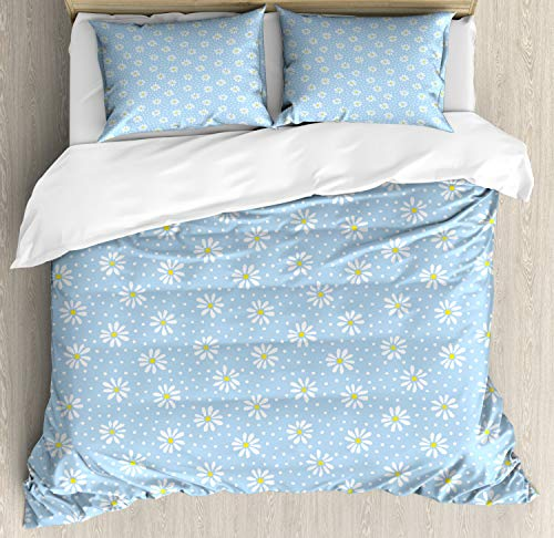 ABAKUHAUS Gelbe Punkte Funda Nórdica, Margaritas en Colores Pastel, Estampado Lavable, 3 Piezas con 2 Fundas de Almohada, 200 cm x 200 cm, Pálido Azul Azul Mostaza