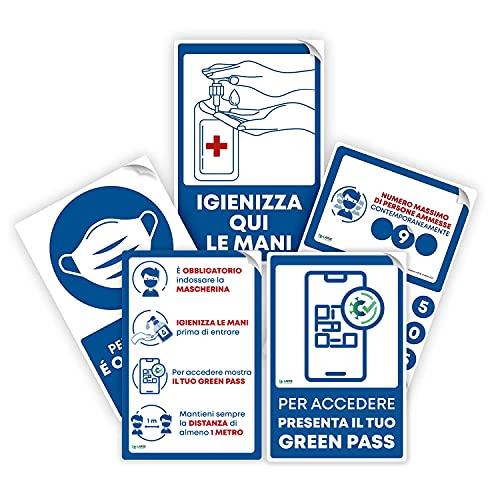 Pack 5 Cartelli Segnaletici Adesivi Indicazioni Ingresso | Adesivi Attacca e Stacca Indicazioni Ingresso 20x30 non lasciano residui di colla