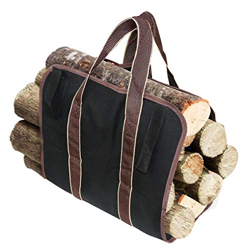 LINGSFIRE Log Carrier Firewood Tote Wood Carrying Bag Fireplace 16oz Canvas Wood Tote Bag Extra Large Firewood Holder with Handles Fireplace Wood Stove Accessories for Camping Beaches Black
