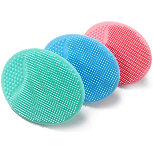 Baby Bath Brush, Baby Cradle Cap Brush, Silicone Massage Brush, Silicone Scrubbers Exfoliator Brush | The SkinSoother Baby Essential for Dry Skin, Cradle Cap and Eczema (Small-4PCS)