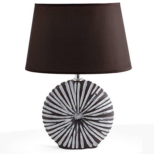 BRUBAKER Lampe de Table, de Chevet - Abat-jour Brun et Pied de la Céramique Brun/Blanc - Hauteur 36 cm