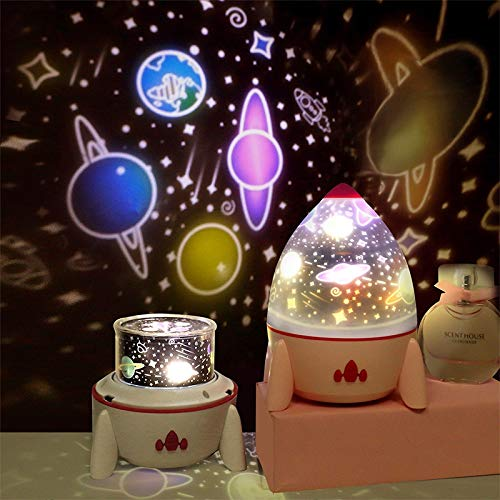 Dimmable Planet Magic Projector Lamp Chambre Décoration Star Universe Night Light LED Coloré Rocket Launcher Spin Blink Projector Gift B