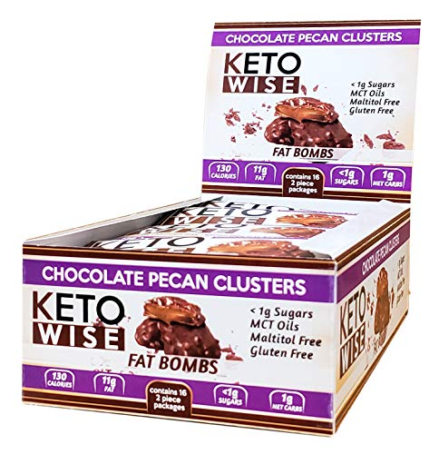 Keto Wise Fat Bombs Pecan Clusters, 16Count Box, 18 Ounce , Chocolate Pecan Clusters, 18 Ounce