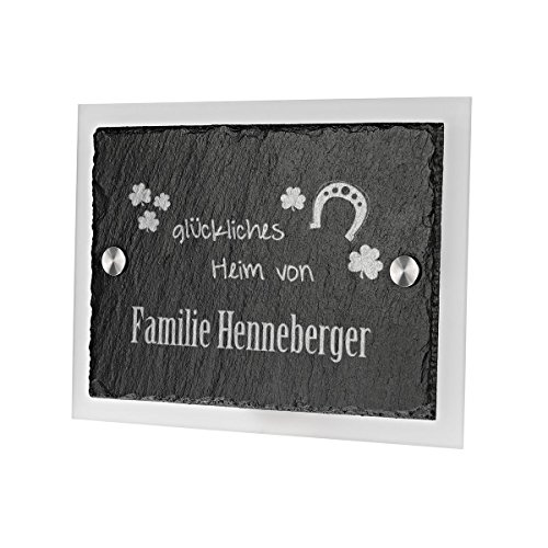 Ardoise plaque de porte avec verre acrylique avec gravure personnalisée motif glückliches domicile