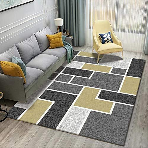 AU-SHTANG alfombras pie de Cama Diseño de patrón Irregular geométrico Amarillo Mostaza Alfombra de Gateo para bebés a Prueba de Humedad y Suciedad alfombras largas para Pasillo -Gris_Los 60x90cm