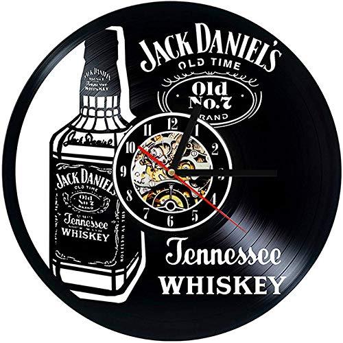 TANCEQI Vinyl Clock Jack Daniels - Schallplatten Wandkunst handgefertigte Dekor - Vintage Geschenk für Männer & Frauen Jack Daniels Liebhaber, with Light