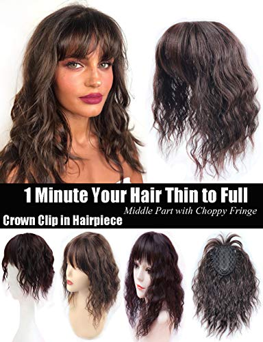 Clip de corona de pelo ondulado en la parte media con flecos picados delgados/25 cm, marrón oscuro