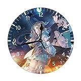 gdingxiantengsubaihuoshang Nacht Anime Boy Mute Non Tick Wanduhren, geeignet SOR Wohnzimmer, Küche, Schlafzimmer, schmücken Wanduhr, arabische Ziffer 9,84 Zoll PVC Wanduhr